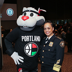 Blaze the Trail Cat and Portland Police Chief Danielle Outlaw