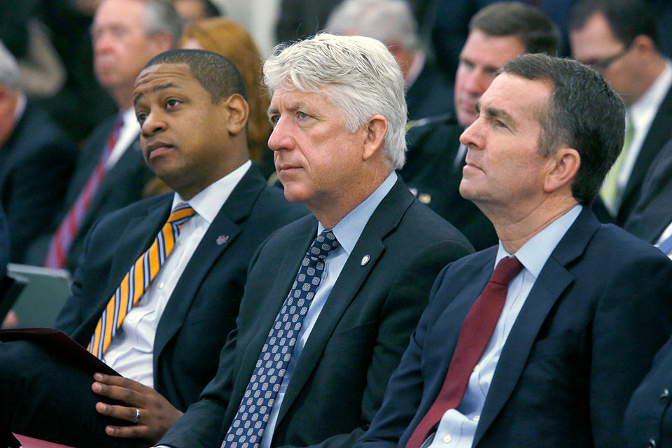 Lt. Governor-elect Justin Fairfax, Attorney General-elect Mark Herring and Governor-elect Ralph Northam