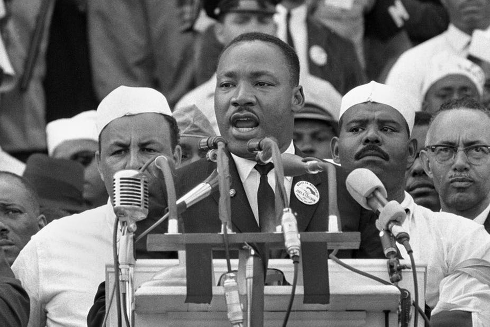 Dr. Martin Luther King Jr. addresses marchers during his 'I Have a Dream' speech at the Lincoln Memorial in Washington. AP Photo