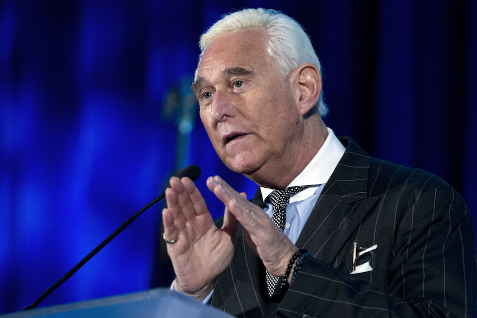 Roger Stone speaks at the American Priority Conference in Washington, Dec. 6, 2018. Stone, an associate of President Donald Trump, has been arrested in Florida. That's according to special counsel Robert Mueller's office, which says he faces charges including witness tampering, obstruction and false statements. Stone has been under scrutiny for months but has maintained his innocence. (AP Photo/Jose Luis Magana, File)