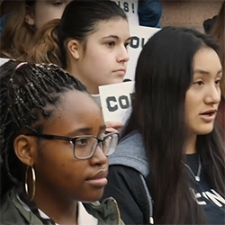 Portland-area students have organized to oppose a cost-sharing agreement that would increase the number of officers in schools and shift more of the funding burden to Portland Public Schools. Image via NoSROs on YouTube.