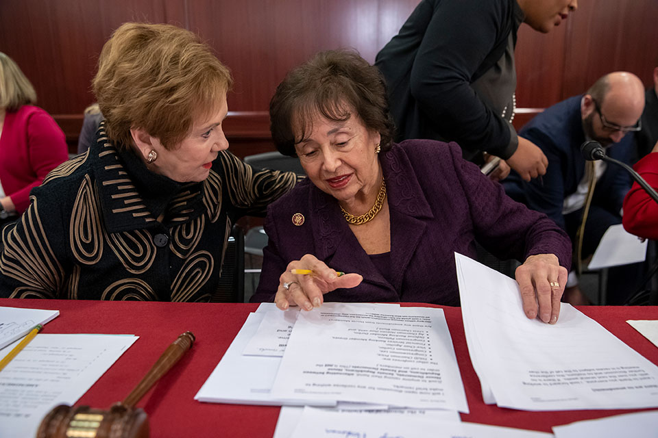 Rep. Kay Granger, R-Texas, left, ranking member of the House Appropriations Committee, speaks with Appropriations Chair Nita Lowey, D-N.Y.
