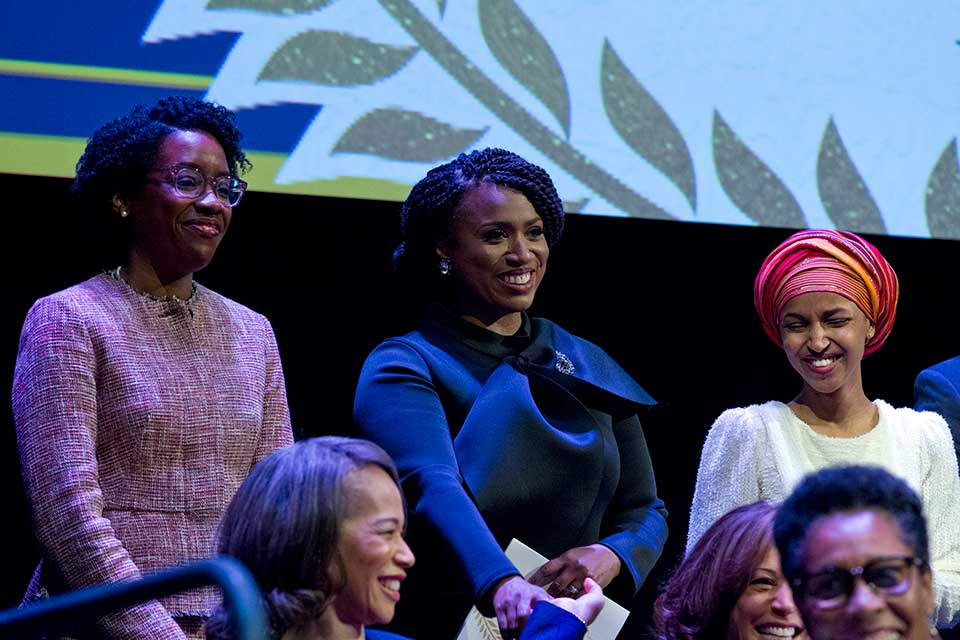 Lauren Underwood D-IL, Ayanna Pressley, D-Mass., and Ilhan Omar D-MN, during the swearing-in ceremony of Congressional Black Caucus members of the 116th Congress