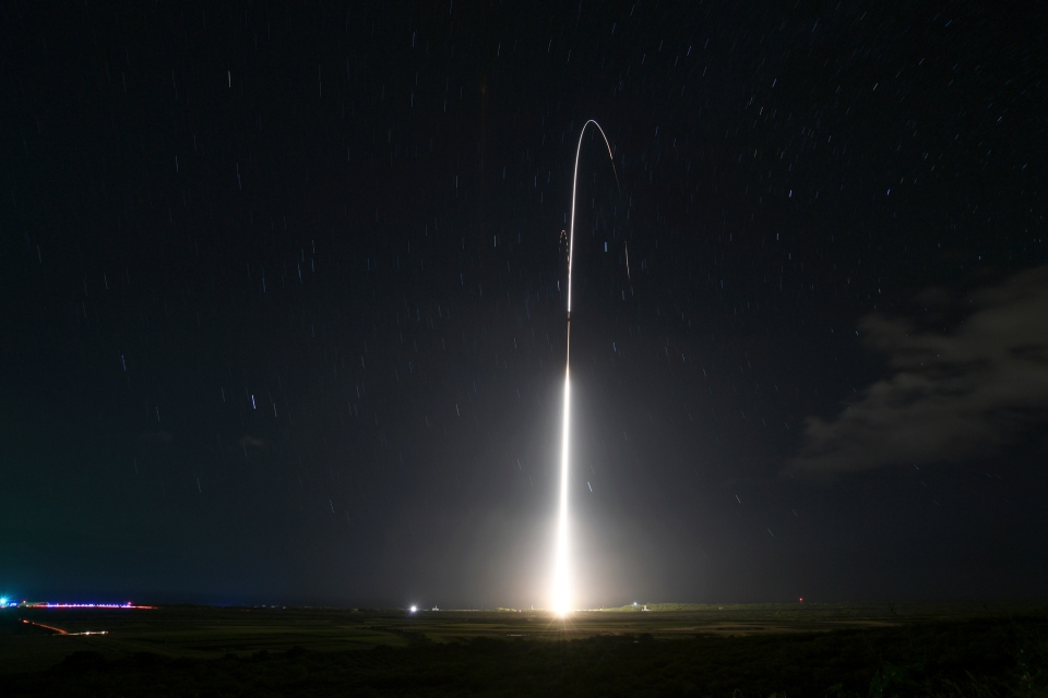 This Dec. 10, 2018, file photo, provided by the U.S. Missile Defense Agency (MDA),shows the launch of the U.S. military's land-based Aegis missile defense testing system, that later intercepted an intermediate range ballistic missile, from the Pacific Missile Range Facility on the island of Kauai in Hawaii. The Trump administration will roll out a new strategy Thursday, Jan. 17, 2019, for a more aggressive space-based missile defense system to protect against existing threats from North Korea and Iran and counter advanced weapon systems being developed by Russia and China. (Mark Wright/Missile Defense Agency via AP)