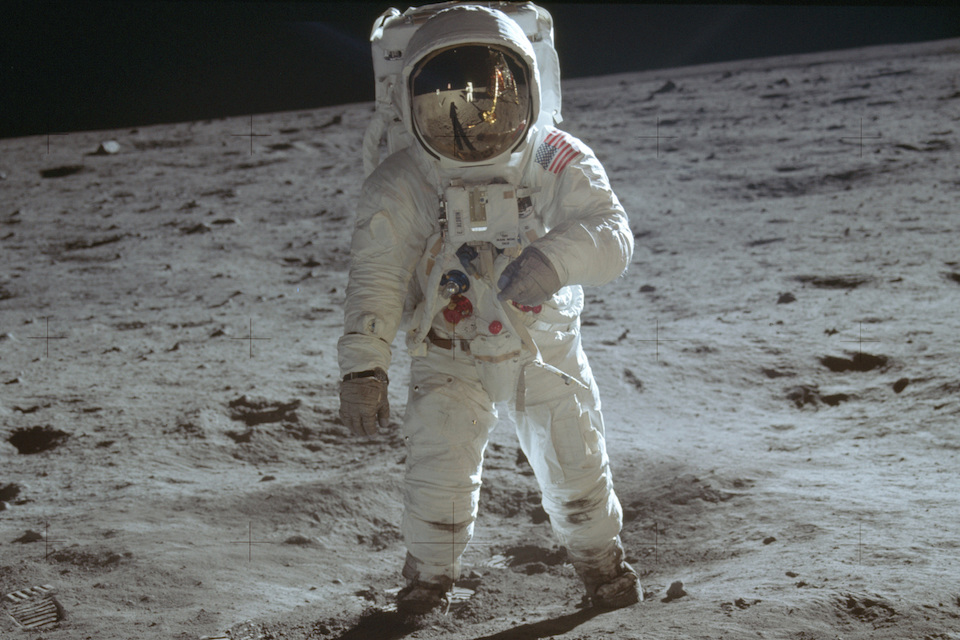 Astronaut Buzz Aldrin, lunar module pilot, walks on the surface of the moon during the Apollo 11 extravehicular activity, July 20, 1969. (Neil Armstrong/NASA via AP)