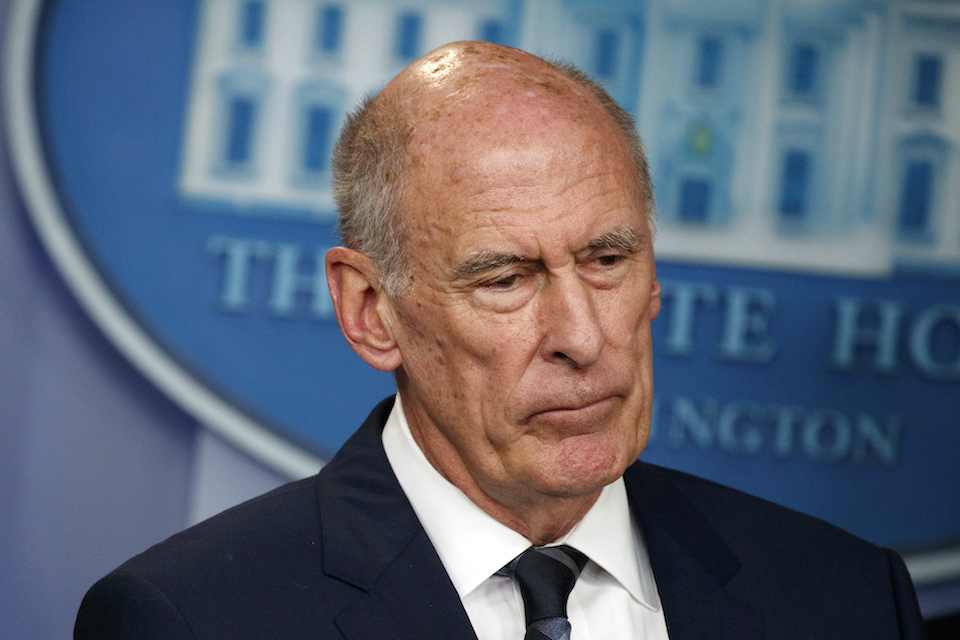 Director of National Intelligence Dan Coats listens during a daily press briefing at the White House in Washington, Aug. 2, 2018. Coats is to resign in days, after a two-year tenure marked by President Donald Trump's clashes with intelligence officials, U.S. officials said on Sunday, July 28, 2019. (AP Photo/Evan Vucci, FIle)