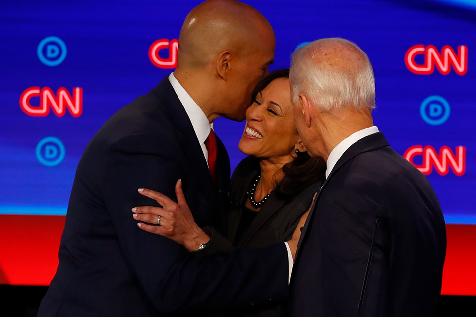 Sen. Cory Booker, D-N.J., former Vice President Joe Biden and Sen. Kamala Harris