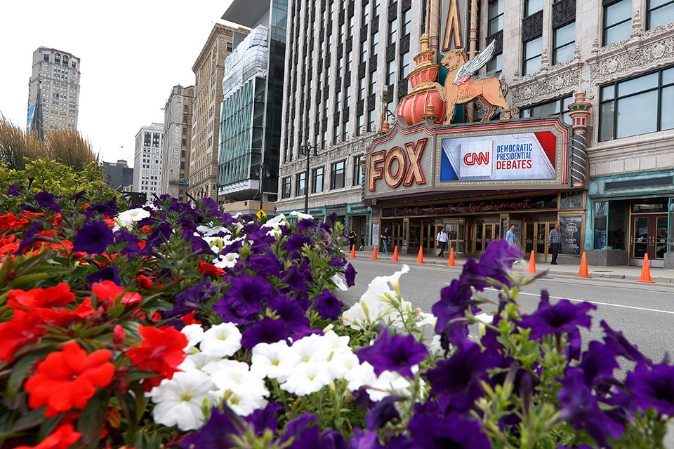 The Fox Theatre displays signs for the Democratic presidential debates in Detroit, Monday, July 29, 2019. The second scheduled debate will be on July 30 and 31