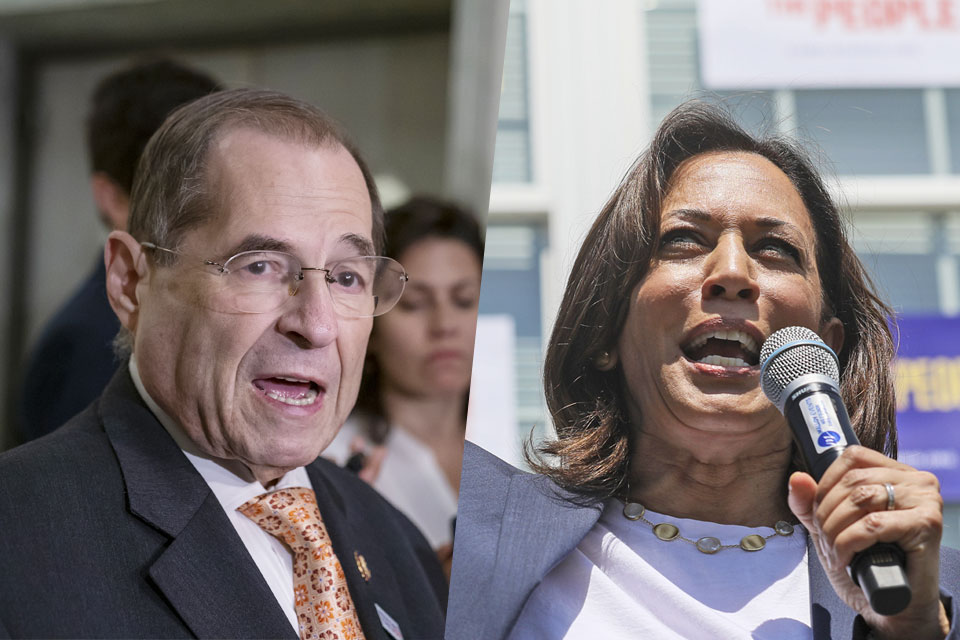 Left, U.S. Representative Jerrold Nadler and Kamala D. Harris, right, introduced the Marijuana Opportunity Reinvestment and Expungement (MORE) Act on Tuesday, July 23. Nadler: (AP Photo/J. Scott Applewhite) Harris: (AP Photo/ Cheryl Senter)
