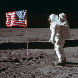 Buzz Aldrin Jr. poses for a photograph beside the U.S. flag on the moon during the Apollo 11 mission