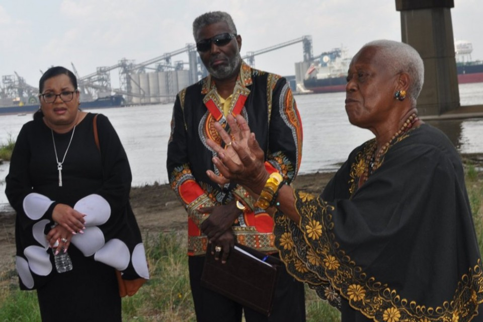 Sadie Roberts-Joseph speaks at the 2019 Juneteenth Celebration on the banks of the Mississippi River. The archivist and founder of the Baton Rouge African American Museum (formerly the Odell S Williams Now and Then African American Museum) was murdered July 12, 2019. Photo by Yulani Semien.