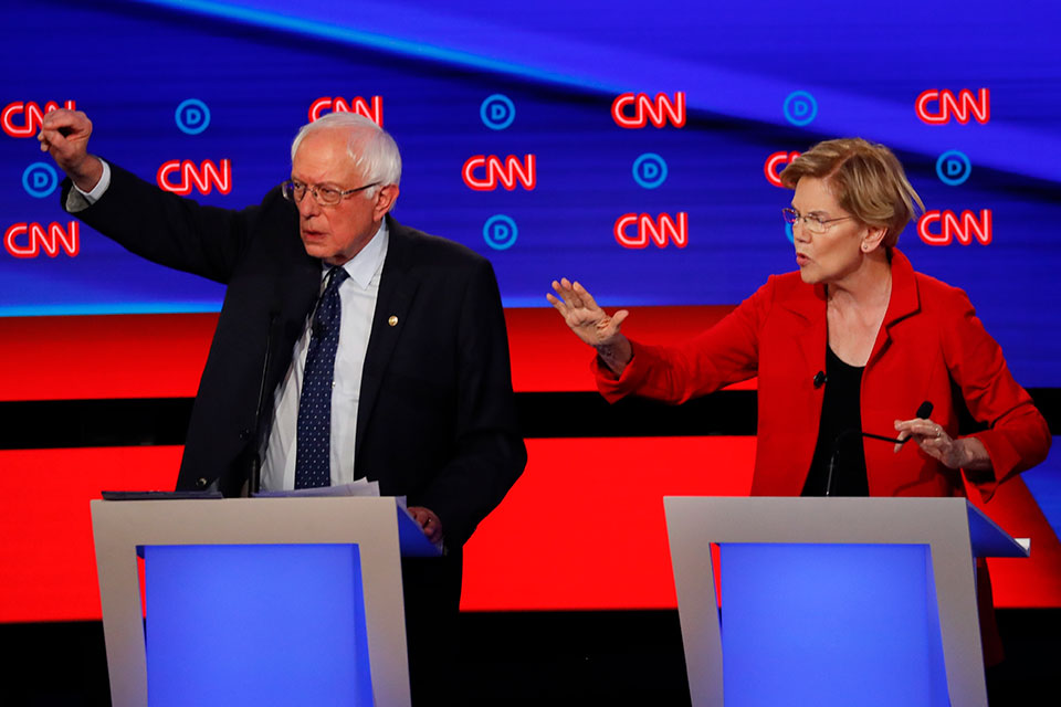 Bernie Sanders and Elizabeth Warren at the Democratic Debate in Detroit