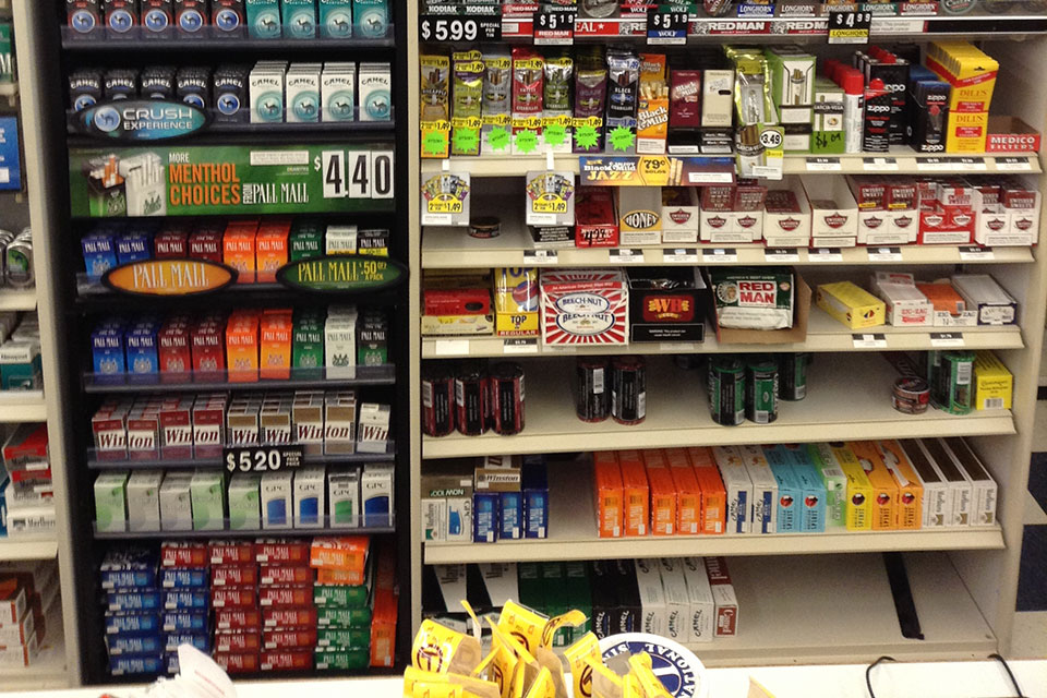 tobacco products at kid's eye level