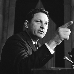 In this Nov. 8, 1968 file photo, Sen. Birch Bayh, D-Ind., chairman of the Senate constitutional amendments subcommittee, speaks at a news conference in Washington. Bayh, who championed the federal law banning discrimination against women in college admissions and sports, died from pneumonia at his home in Easton, Md., Thursday, March 14, 2019, at age 91, his family said said in a statement. (AP Photo/Henry Griffin, File)