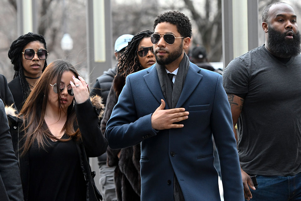 Jussie Smollett leaving courthouse