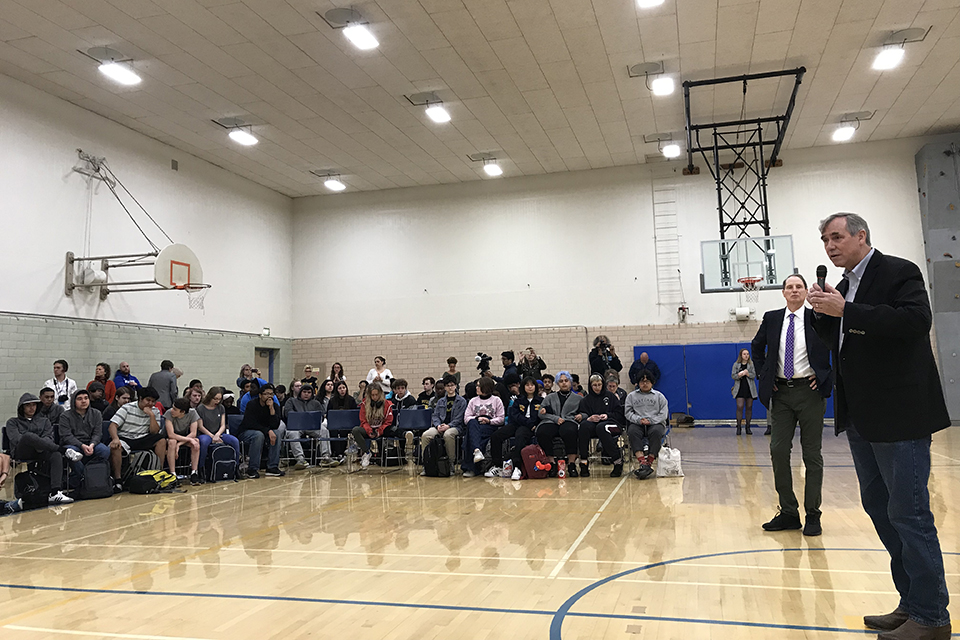Jefferson High School students attended a joint town hall Friday between Sen. Jeff Merkley (at microphone) and Sen. Ron Wyden. Photo by Christen McCurdy.