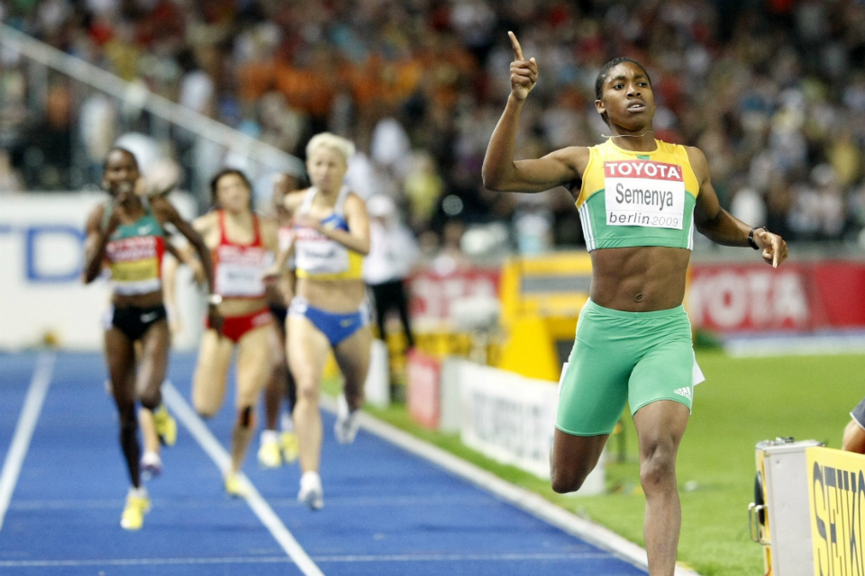 In this Wednesday, Aug. 19, 2009 file photo South Africa's Caster Semenya celebrates as she crosses the finish line to win the gold medal in the final of the Women's 800m during the World Athletics Championships in Berlin. Caster Semenya will find out Wednesday, May 1, 2019 if she has won her appeal against IAAF rules to curb female runners' high natural levels of testosterone. (AP Photo/Anja Niedringhaus, File)