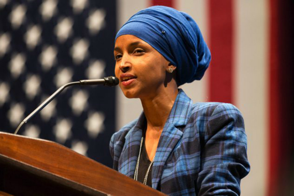 Representative, Ilhan Omar (D-MN) speaking at a Hillary for MN event at the U of MN, October 2018. (Photo: Lorie Shaull/ Wikimedia Commons)