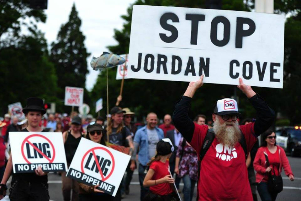 Activists protesting the Jordan Cove liquefied natural gas (LNG) project. (Photo Courtesy: NoLNGExports)