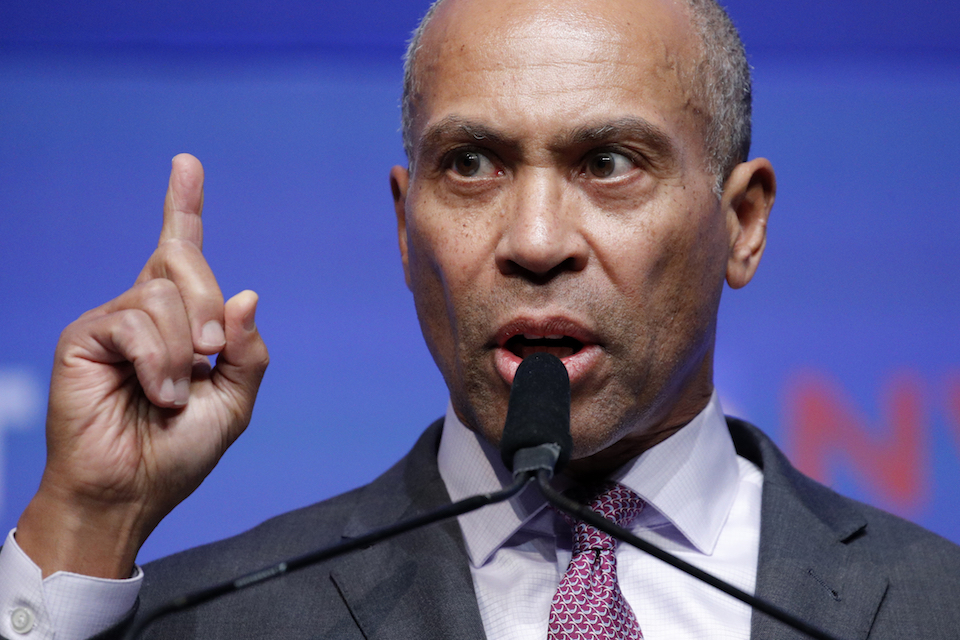 Democratic presidential candidate former Massachusetts Gov. Deval Patrick speaks during a fundraiser for the Nevada Democratic Party, Sunday, Nov. 17, 2019, in Las Vegas. (AP Photo/John Locher)