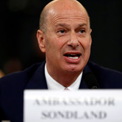 U.S. Ambassador to the European Union Gordon Sondland gives his opening statement as he testifies before the House Intelligence Committee on Capitol Hill in Washington, Wednesday, Nov. 20, 2019