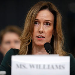 Jennifer Williams, an aide to Vice President Mike Pence testifes before the House Intelligence Committee on Capitol Hill in Washington, Tuesday, Nov. 19, 2019