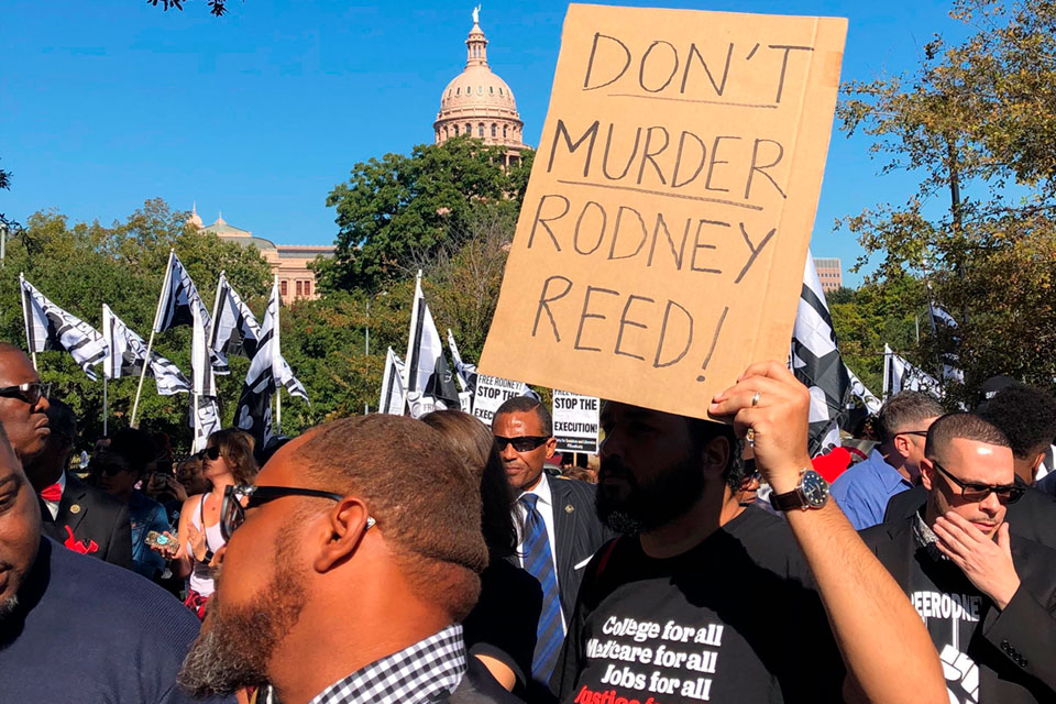 Supporters rally to stop the execution of Texas death row inmate Rodney Reed outside the governor's mansion in Austin, Texas, Saturday, Nov. 9, 2019