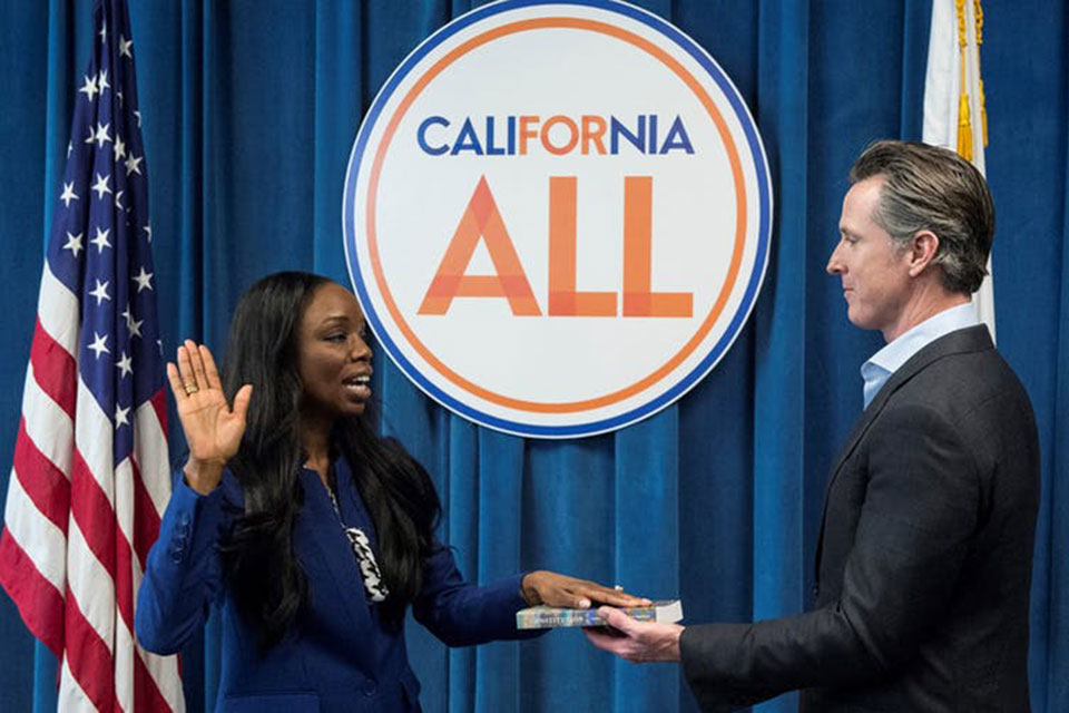 The first ever Surgeon General of California, Dr. Nadine Burke Harris, being sworn in