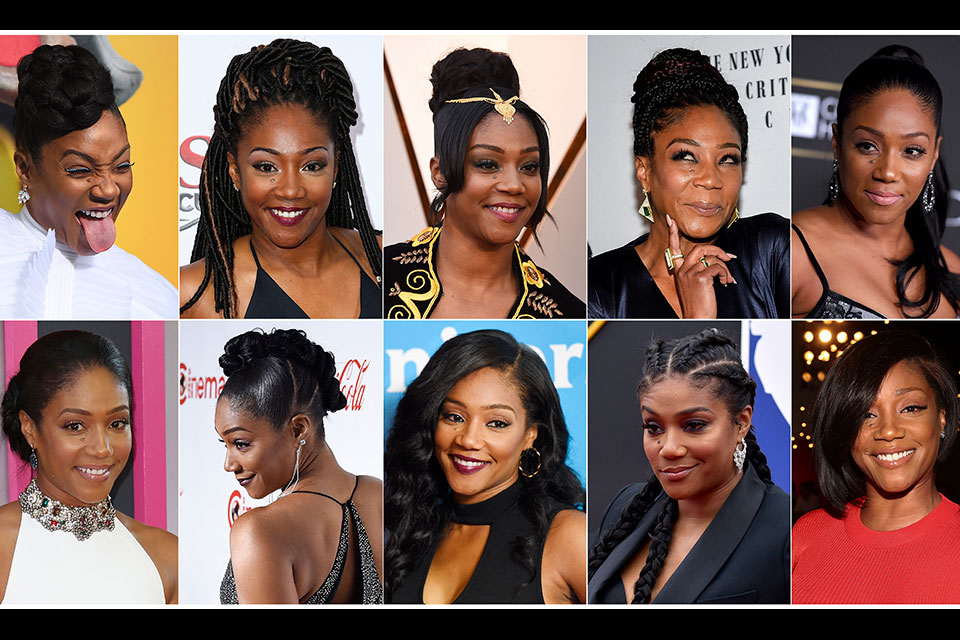 This combination photo shows various hairstyles worn by actress-comedian Tiffany Haddish. Haddish recalls leaving the set of a big-budget movie in tears in search of someone who could properly do her hair. From Oscar winners to stars on the rise, many African American actresses have similar stories about hair struggles in Hollywood