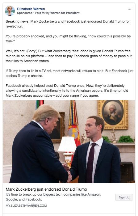 facebook elizabeth warren false ad