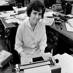 In this May 1964 file photo, Associated Press journalist, Kathryn Johnson sits at her desk in Atlanta.