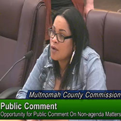 O'Nesha Cochran, the former program director at he newly opened Diane Wade House in Portland, speaks at a May 9, 2019 Multnomah County Commission meeting after her abrupt firing from the Diane Wade House..