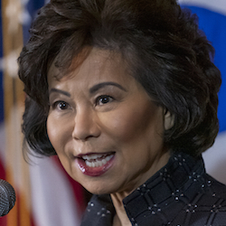 Transportation Secretary Elaine Chao speaks to reporters about President Donald Trump's decision to revoke California's authority to set auto mileage standards stricter than those issued by federal regulators, at EPA headquarters in Washington, Wednesday, Sept. 18, 2019. (AP Photo/J. Scott Applewhite)