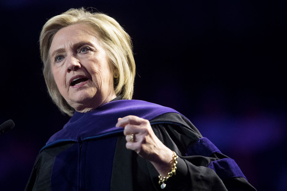 In this Wednesday, May 29, 2019 file photo, former Secretary of State Hillary Clinton delivers Hunter College's commencement address in New York.