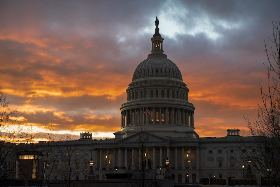"The Capitol at sunset in Washington, Jan. 24, 2019. Facing criticism that the Senate has become little more than what one member calls ""an expensive lunch club,"" Congress returns for the fall session with pressure mounting on Leader Mitch McConnell to address gun violence, election security and other issues. (AP Photo/J. Scott Applewhite, File)"