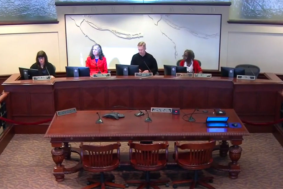 This screenshot shows the start of the City of Portland Council session held on March 4, 2020.
