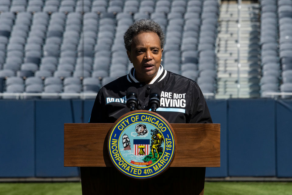 Mayor Lori Lightfoot announces the