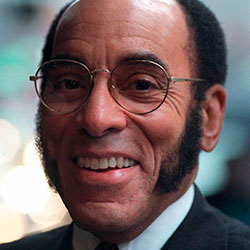 This May 8, 1997 file photo shows Publisher and CEO of Black Enterprise Magazine Earl G. Graves Sr. in New York. Graves Sr., who championed black businesses as the founder of the first African American-owned magazine focusing on black entrepreneurs, has died. He was 85. His son said Graves died Monday, April 6, 2020. (AP Photo/Bebeto Matthews, File)