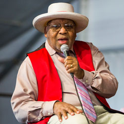 This April 28, 2019, file photo, shows Ellis Marsalis during the New Orleans Jazz & Heritage Festival in New Orleans. New Orleans Mayor LaToya Cantrell announced Wednesday, April 1, 2020, that Marsalis has died. He was 85. (AP Photo/Sophia Germer, File)