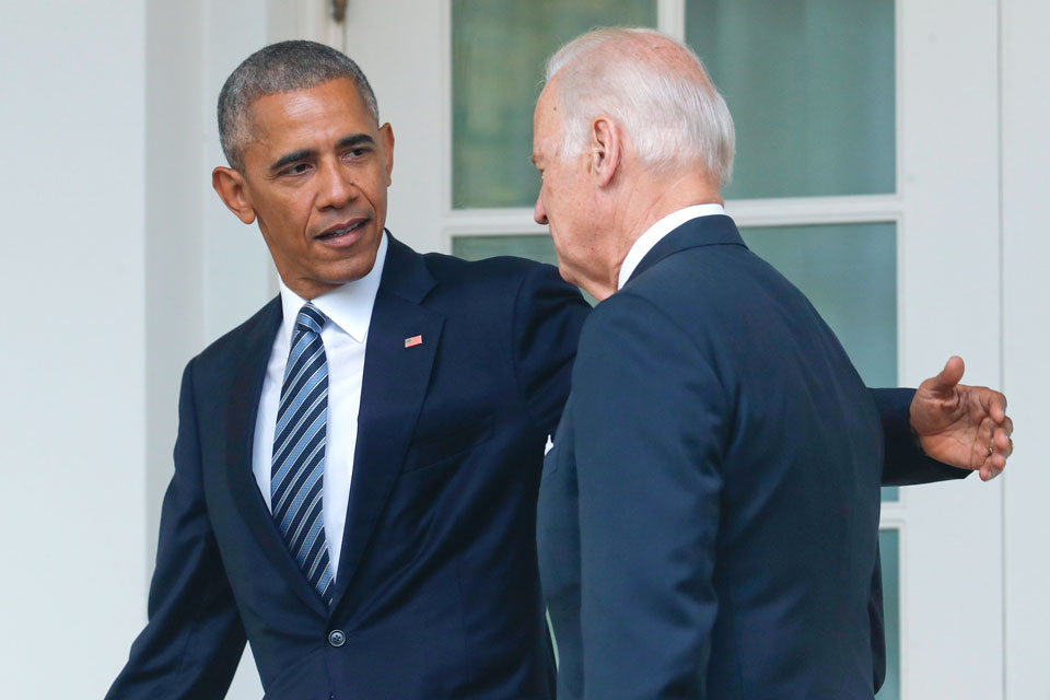 In this Nov. 9, 2016 file photo, President Barack Obama, accompanied by Vice President Joe Biden, walks back to the Oval Office in Washington, after speaking about the election in the Rose Garden. (AP Photo/Pablo Martinez Monsivais)