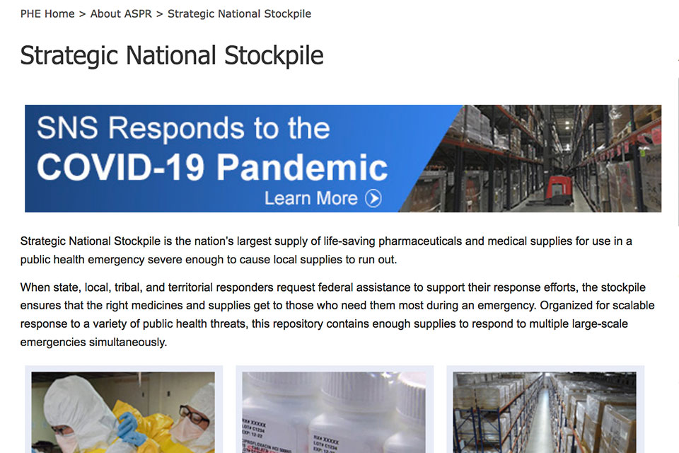The above image is a screenshot of the Strategic National Stockpile page on the U.S. government's Public Health Emergency website taken on Thursday, April 2, 2020 at 11:40 p.m. The description of the Strategic National Stockpile has since been changed. (source: Internet Archive Wayback Machine)