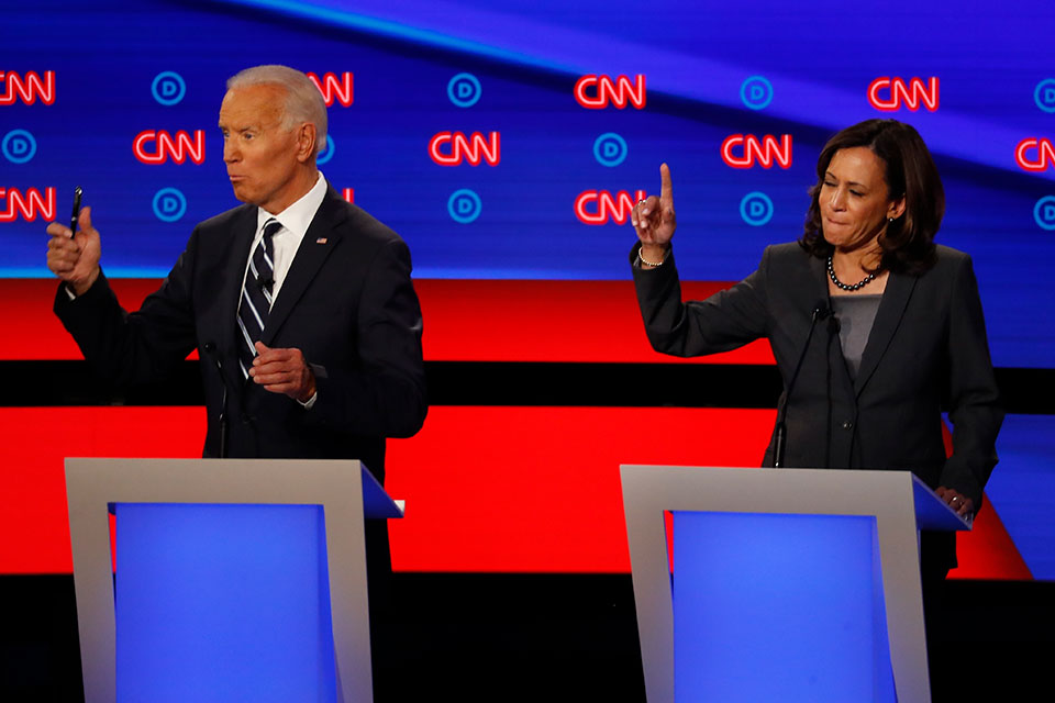 In this July 31, 2019, file photo, then-Democratic presidential candidate Sen. Kamala Harris, D-Calif., and Democratic presidential candidate former Vice President Joe Biden participate in the second of two Democratic presidential primary debates at the Fox Theatre in Detroit. Biden has chosen Harris as his running mate. (AP Photo/Paul Sancya, File)