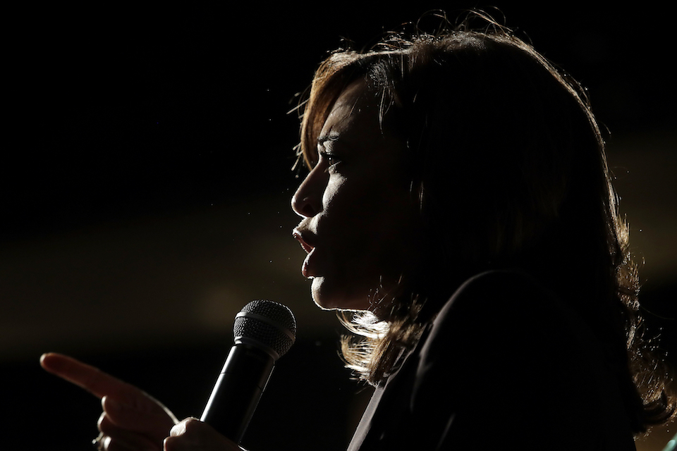 Democratic presidential candidate Sen. Kamala Harris, D-Calif., speaks at an SEIU event before the 2019 California Democratic Party State Organizing Convention in San Francisco, Saturday, June 1, 2019. Harris is only the second Black woman to serve in the Senate, and in 2020, a prominent contender for the vice-presidential ticket. (AP Photo/Jeff Chiu)