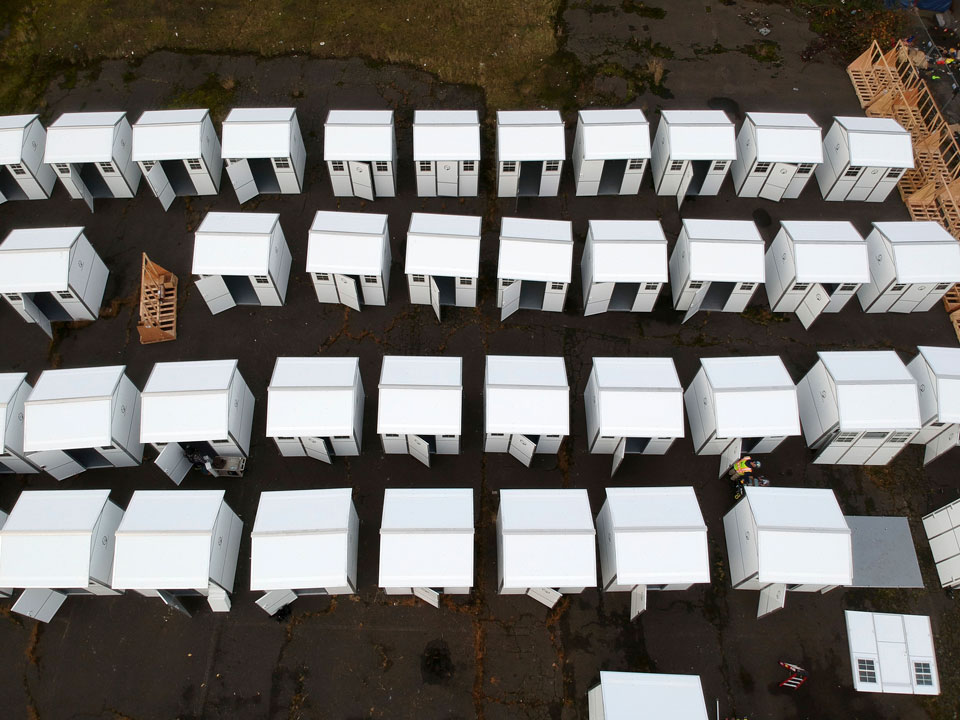 portland homeless pods aerial