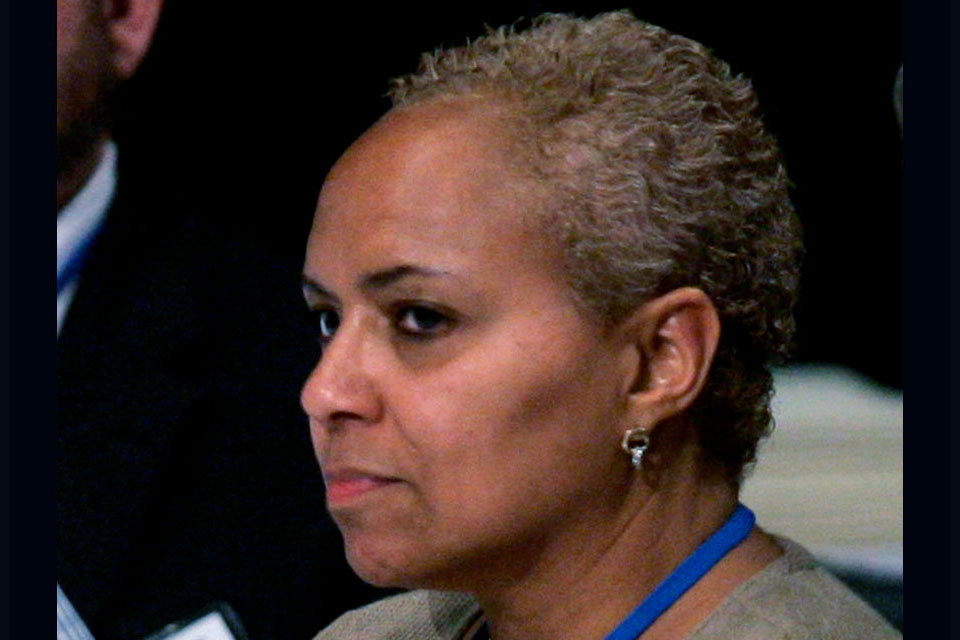 In this May 31, 2008 file photo, Tina Flournoy, then Democratic National Committee Rules and Bylaws committee member, during a hearing in Washington. Vice President-elect Kamala Harris has named veteran Democratic strategist Tina Flournoy as her chief of staff. (AP Photo/Susan Walsh)