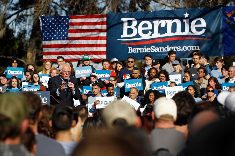 Democratic presidential candidate Sen. Bernie Sanders, I-Vt., speaks during a campaign event at the University of Nevada, Las Vegas, Tuesday, Feb. 18, 2020, in Las Vegas