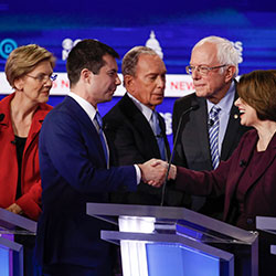 From left, Democratic presidential candidates, Sen. Elizabeth Warren, D-Mass., former South Bend Mayor Pete Buttigieg, former New York City Mayor Mike Bloomberg, Sen. Bernie Sanders, I-Vt., Sen. Amy Klobuchar, D-Minn.