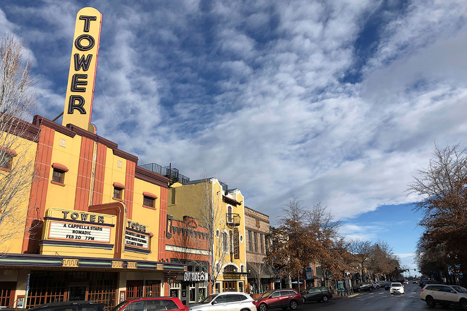 This Jan. 28, 2020 photo shows the Tower theatre located in downtown Bend, Ore., where the population in the early 1990's was around 25,000 and leaned Republican. Demographic shifts are helping push the Republican Party into a nosedive along the West Coast. The last Republican presidential candidate that California went for was George H.W. Bush. For Oregon and Washington, it was Ronald Reagan. Now, Republicans in the three states are even struggling to hold seats in Congress, statehouses and city councils