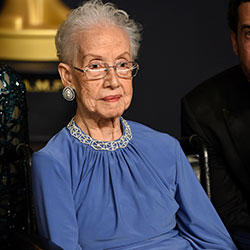 Katherine Johnson, the inspiration for the film, Hidden Figures, poses in the press room at the Oscars at the Dolby Theatre in Los Angeles