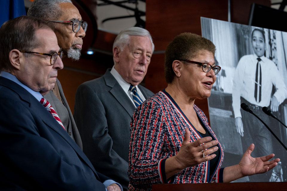 "From left, House Judiciary Committee Chairman Jerrold Nadler, D-N.Y., Rep. Bobby Rush, D-Ill., House Majority Leader Steny Hoyer, D-Md., and Rep. Karen Bass, D-Calif., chair of the Congressional Black Caucus, hold a news conference to discuss the ""Emmett Till Antilynching Act"" which would designate lynching as a hate crime under federal law, on Capitol Hill in Washington, Wednesday, Feb. 26, 2020. Emmett Till, pictured at right, was a 14-year-old African-American who was lynched in Mississippi in 1955, after being accused of offending a white woman in her family's grocery store"